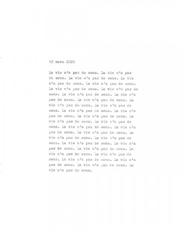 Page de texte écrit à la machine à écrire : Couverture du 12 mars 2020