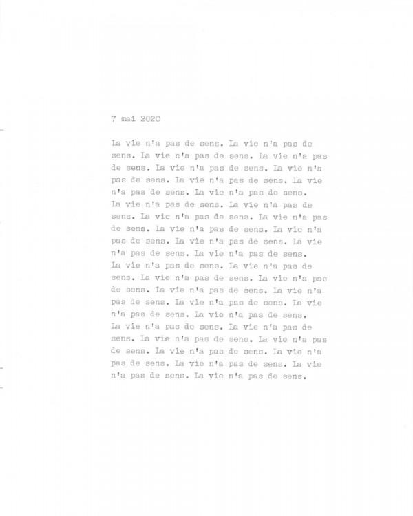 Page de texte écrit à la machine à écrire : Couverture du 7 mai 2020