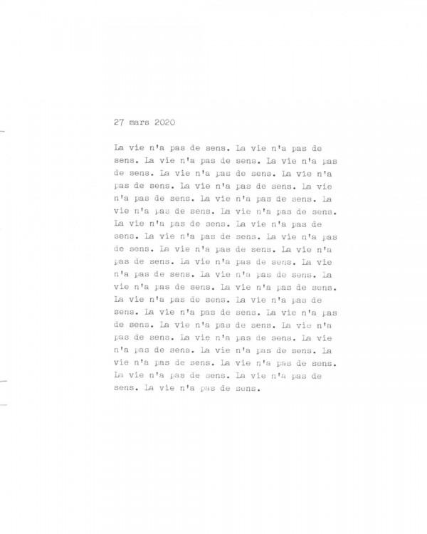 Page de texte écrit à la machine à écrire : Couverture du 27 mars 2020