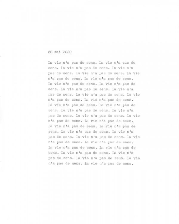 Page de texte écrit à la machine à écrire : Couverture du 28 mai 2020
