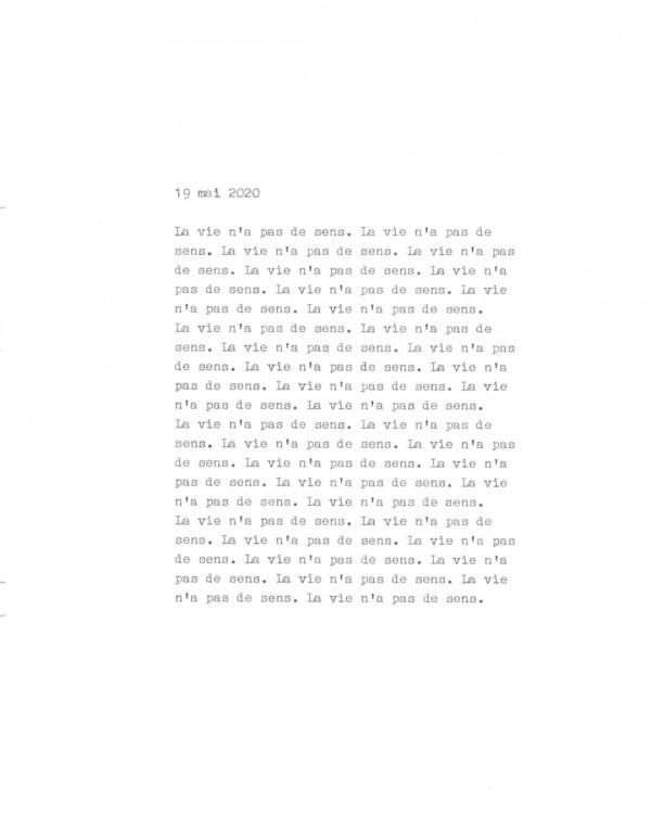 Page de texte écrit à la machine à écrire : Couverture du 19 mai 2020