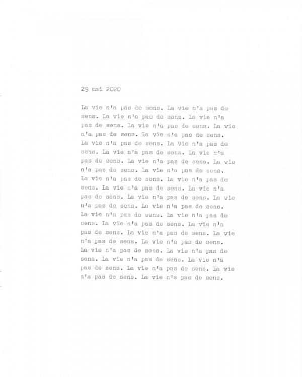 Page de texte écrit à la machine à écrire : Couverture du 29 mai 2020