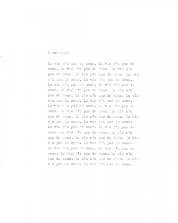 Page de texte écrit à la machine à écrire : Couverture du 6 mai 2020