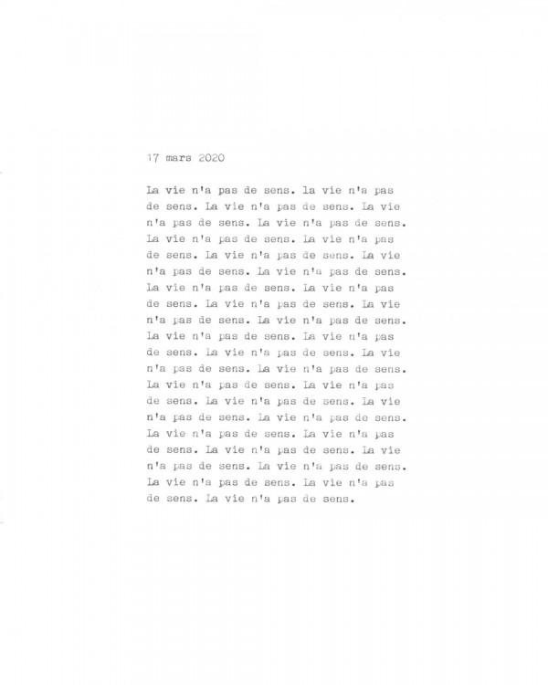 Page de texte écrit à la machine à écrire : Couverture du 17 mars 2020