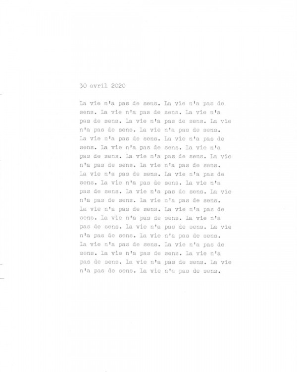 Page de texte écrit à la machine à écrire : Couverture du 30 avril 2020