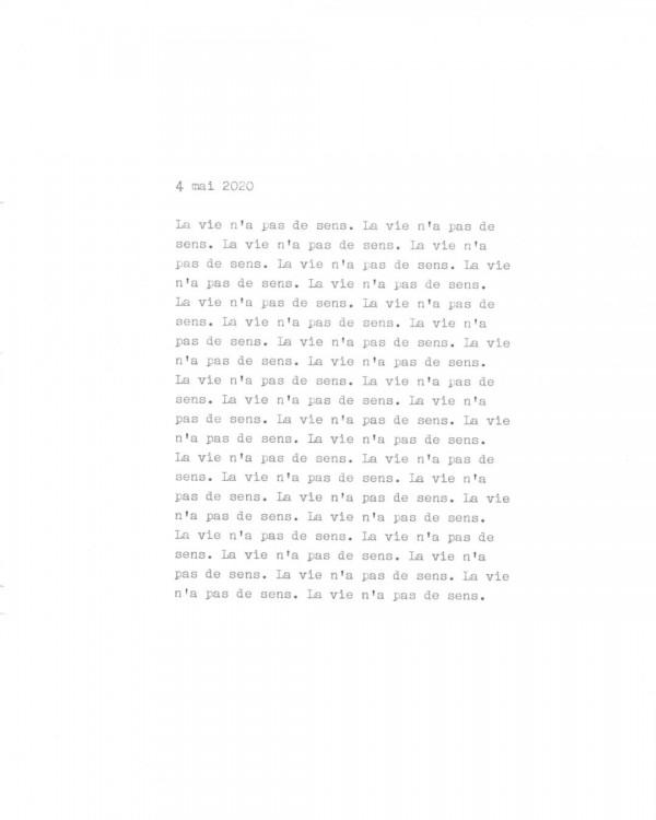 Page de texte écrit à la machine à écrire : Couverture du 4 mai 2020