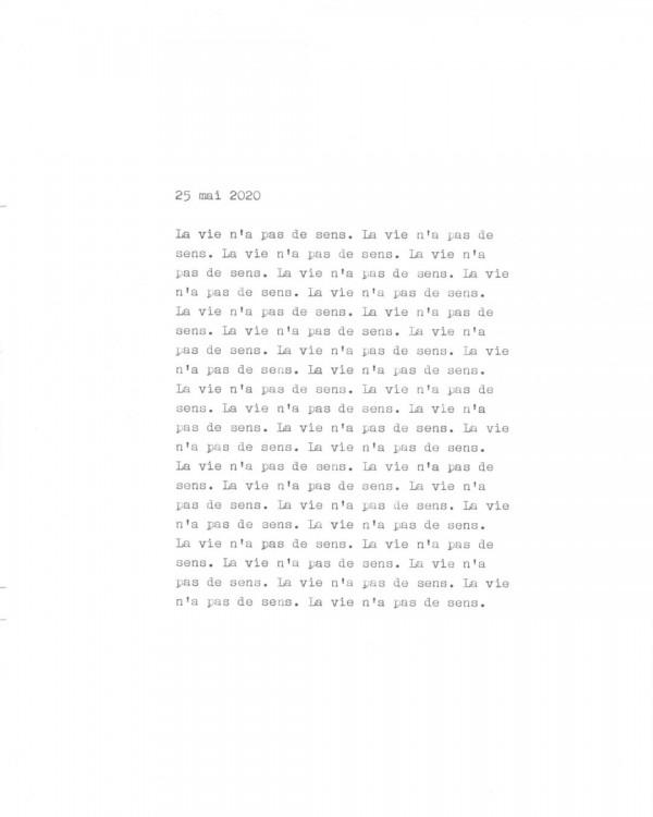 Page de texte écrit à la machine à écrire : Couverture du 25 mai 2020