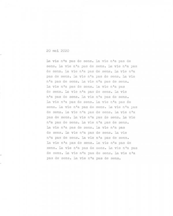 Page de texte écrit à la machine à écrire : Couverture du 20 mai 2020