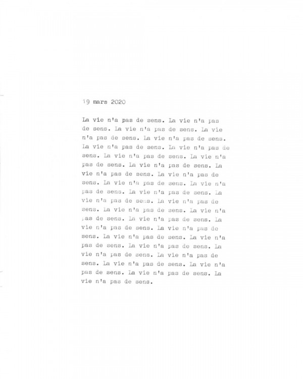 Page de texte écrit à la machine à écrire : Couverture du 19 mars 2020