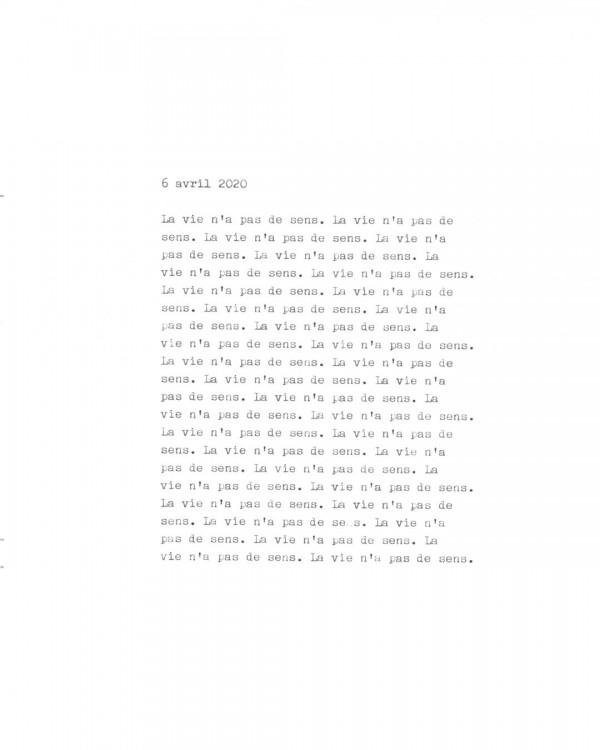 Page de texte écrit à la machine à écrire : Couverture du 6 avril 2020