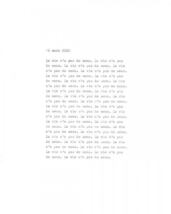 Page de texte écrit à la machine à écrire : Couverture du 16 mars 2020