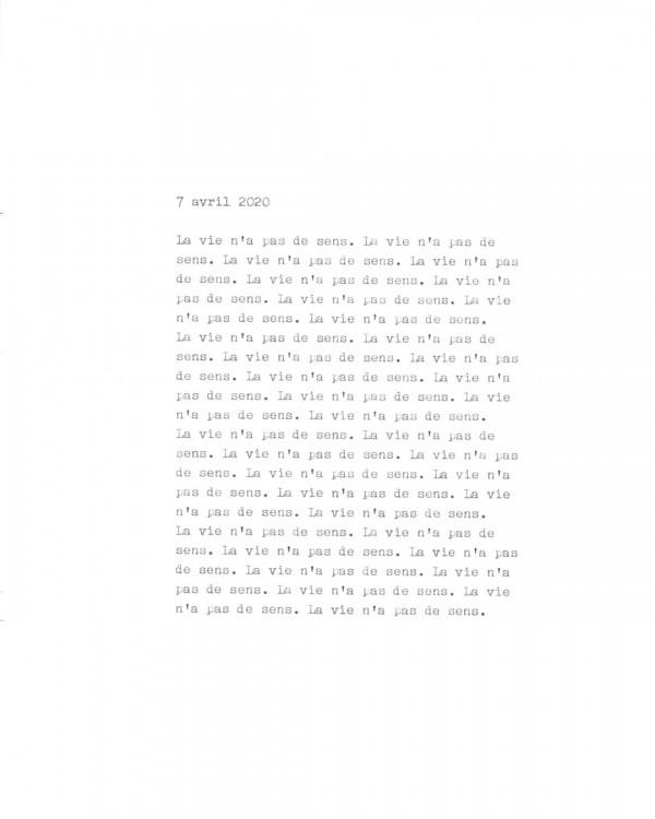 Page de texte écrit à la machine à écrire : Couverture du 7 avril 2020