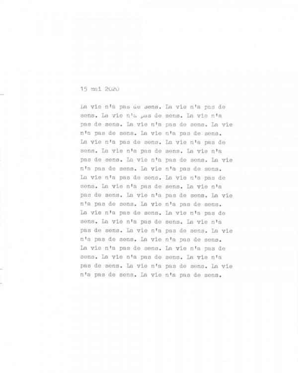 Page de texte écrit à la machine à écrire : Couverture du 15 mai 2020