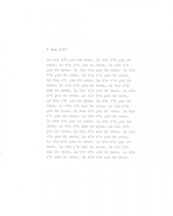 Page de texte écrit à la machine à écrire : Couverture du 1 mai 2020