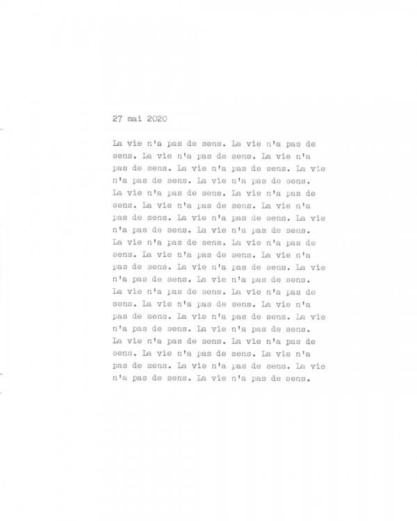 Page de texte écrit à la machine à écrire : Couverture du 27 mai 2020