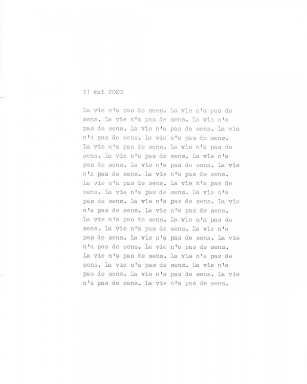 Page de texte écrit à la machine à écrire : Couverture du 11 mai 2020