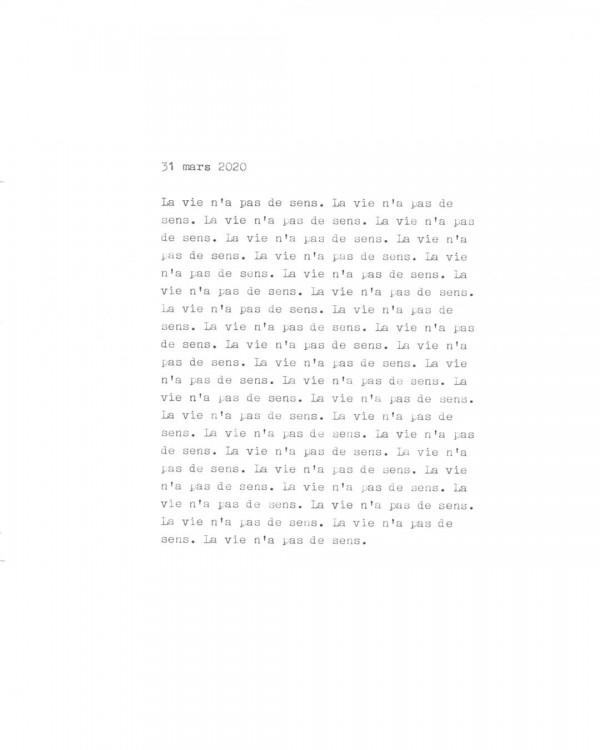 Page de texte écrit à la machine à écrire : Couverture du 31 mars 2020