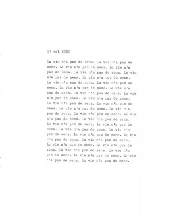 Page de texte écrit à la machine à écrire : Couverture du 21 mai 2020
