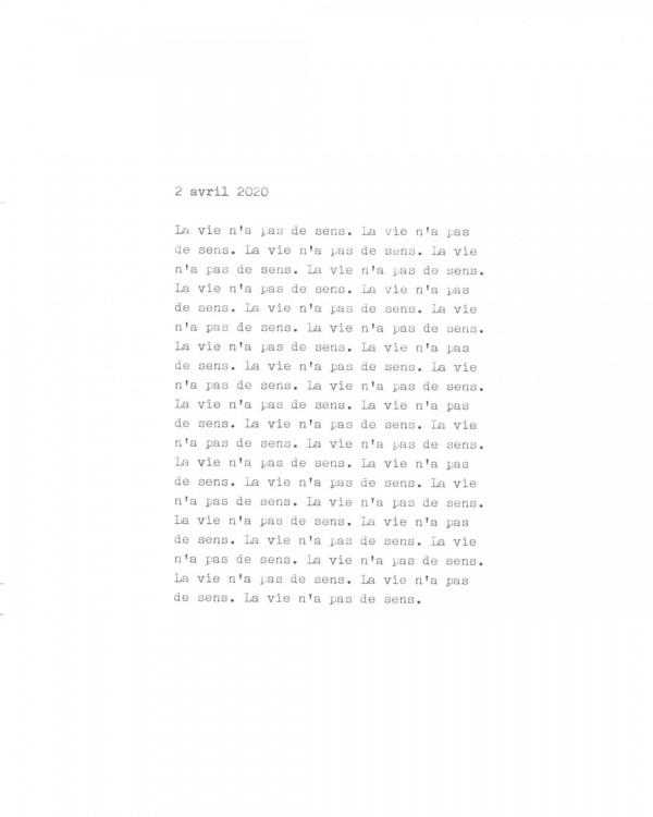 Page de texte écrit à la machine à écrire : Couverture du 2 avril 2020