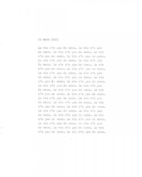 Page de texte écrit à la machine à écrire : Couverture du 26 mars 2020
