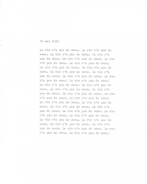 Page de texte écrit à la machine à écrire : Couverture du 18 mai 2020