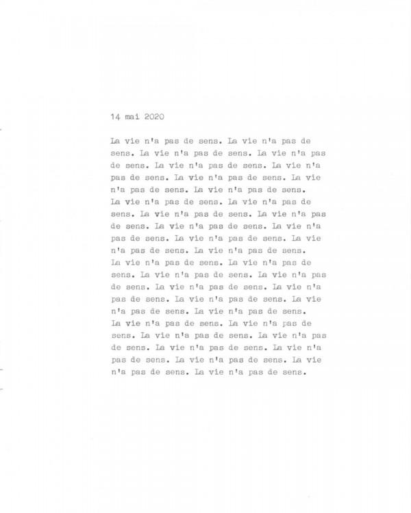 Page de texte écrit à la machine à écrire : Couverture du 14 mai 2020