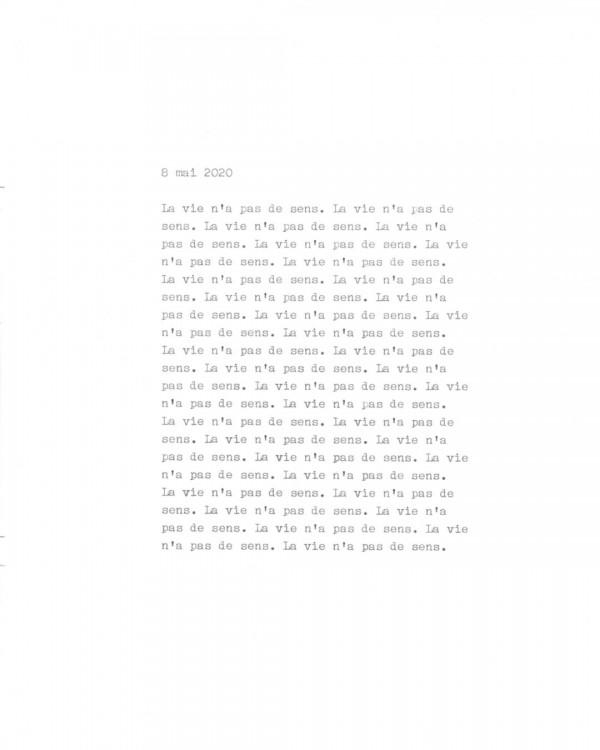 Page de texte écrit à la machine à écrire : Page 1