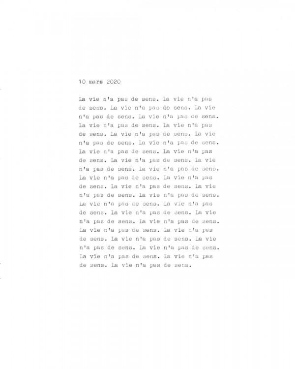 Page de texte écrit à la machine à écrire : Couverture du 10 mars 2020