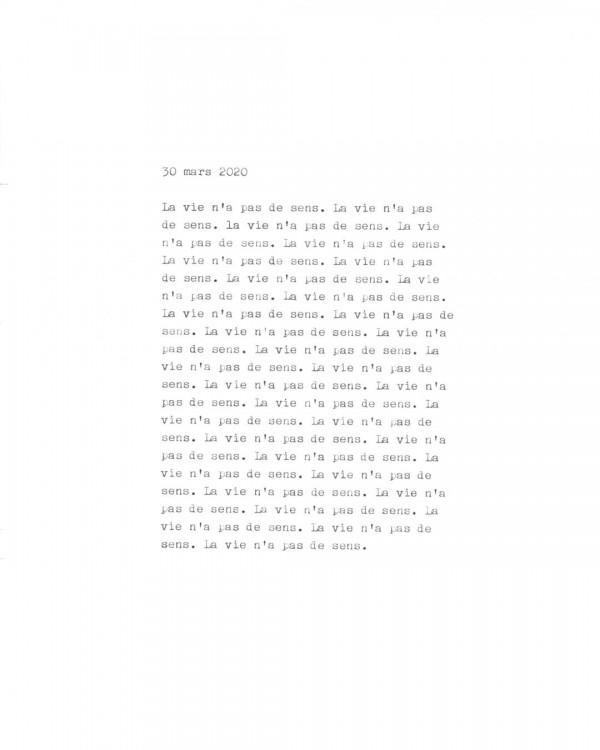 Page de texte écrit à la machine à écrire : Couverture du 30 mars 2020