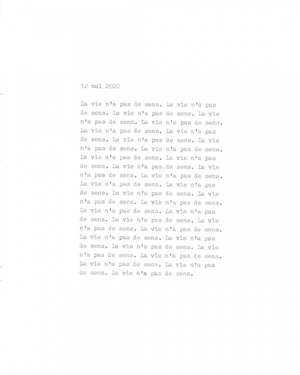 Page de texte écrit à la machine à écrire : Couverture du 12 mai 2020