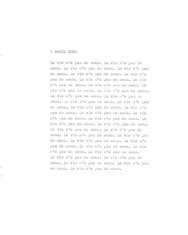Page de texte écrit à la machine à écrire : Couverture du 1 avril 2020