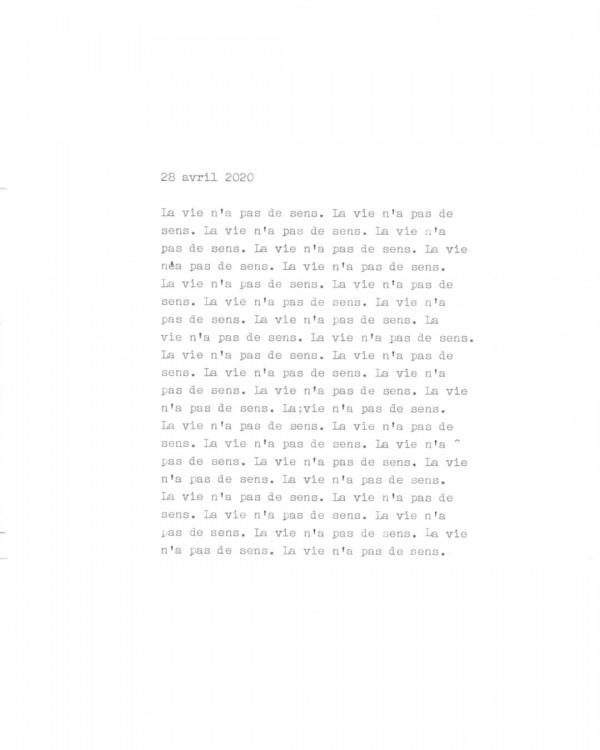 Page de texte écrit à la machine à écrire : Couverture du 28 avril 2020